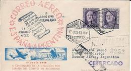 1948 ESPAÑA - ARGENTINA PRIMER VUELO. MADRID - BUENOS AIRES. CERTIFICADO - Posta Aerea