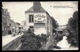 CPA ANCIENNE- FRANCE- PONTCHATEAU (44)- LA RUE SAINT GILDAS ET LE BRIVET- PUB CYCLES ET AUTOS- ATTELAGES- - Pontchâteau