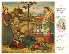 """MALDIVE ISLANDS 1983. Painting """"The Knight´s Dream"""" By Raphael.IMPERF.sheetlet - Maldives (1965-...)"""