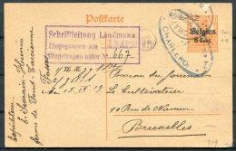 1916 Germany Belgium Censor Stationery Postcard. Charleroi Bruxelles - WW I