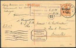 1918 Germany Belgium Censor Stationery Postcard. Ougree - Bruxelles, Luttich Freigegeben - WW I