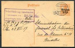 1917 Germany Belgium Censor Stationery Postcard. Tongern - Bruxelles - WW I