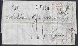 POLOGNE - 1847 - Pli De Dantzig à Destination D'Angers En Port Dû - Taxe Manuscrite 18 Décimes -  B/TB - - Pologne
