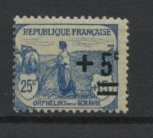 FRANCE -  TYPE ORPHELIN +5c / 25c+15c  BLEU - N° Yvert  165** - Ungebraucht