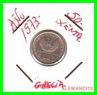 GRECIA  -  GREECE  -  MONEDA DE  50  LEPTA   - AÑO 1973     Copper-Nickel, 18 Mm - Grecia
