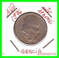 GRECIA  -  GREECE  -  MONEDA DE  20 DRACHMAI   - AÑO 1976     Copper-Nickel,  29 Mm - Grecia