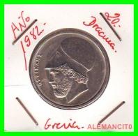 GRECIA  -  GREECE  -  MONEDA DE  20 DRACHMAI   - AÑO 1982  S/c  Copper-Nickel,  29 Mm - Grecia