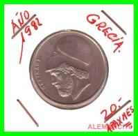 GRECIA  -  GREECE  -  MONEDA DE  20 DRACHMAI   - AÑO 1982   Copper-Nickel,  29 Mm - Grecia