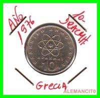 GRECIA  -  GREECE  -  MONEDA DE  10 DRACHMAI   - AÑO 1976   Copper-Nickel,  26 Mm - Grecia