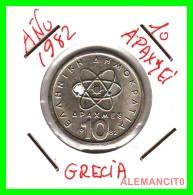 GRECIA  -  GREECE  -  MONEDA DE  10 DRACHMAI   - AÑO 1982   Copper-Nickel,  26 Mm - Grecia
