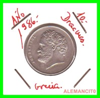 GRECIA  -  GREECE  -  MONEDA DE  10 DRACHMAI   - AÑO 1986   Copper-Nickel,  26 Mm - Grecia