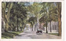 MaIne Portland State Street Looking Towrd Longfellow Square 1924