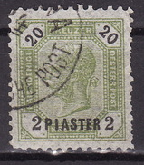 LEVANTE 1891 ANK 28 A I , 2 PIASTER A. 20 KR.  Lz.11-1/2 - Used Stamps