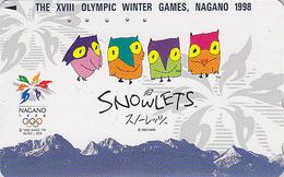 Télécarte Japon / 271-03069 - HIBOU Jeux Olympiques NAGANO - OWL Bird OLYMPIC GAMES Japan Phonecard - EULE - 3917 - Jeux Olympiques