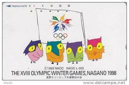 Télécarte Japon / 270-003854 - HIBOU Jeux Olympiques NAGANO - OWL Bird OLYMPIC GAMES Japan Phonecard - EULE - 3919 - Jeux Olympiques