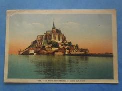 50-MONT ST MICHEL Vue Générale , Coté Sud-ouest , écrite Au Verso Et Circulée En 1951 , 2 Scans - Monuments