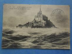 50-MONT ST MICHEL Vue Générale ,jour De Tempète , écrite Au Verso , Dos Vert - Monuments