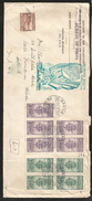 J) 1950 PHILIPPINES, PURPLE AND GREEN TREES AND MAYON VOLCANO, AIRMAIL CIRCULATED COVER, MULTIPLE STAMPS FROM PHILIPPINE - Philippines
