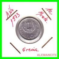 GRACIA  -  GREECE -  MONEDA DE  10 LEPTA - AÑO 1973  -  Aluminum - 21 Mm. - Grecia
