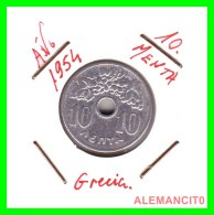 GRACIA  -  GREECE -  MONEDA DE  10 LEPTA - AÑO 1954  -  Aluminum - 21 Mm. - Grecia