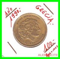 GRACIA  -  GREECE -  MONEDA DE  100  DRACHMES - AÑO 1990  -  Aluminum-Bronze, 29.5 Mm - Grecia