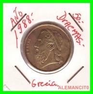 GRACIA  -  GREECE -  MONEDA DE  50  DRACHMES - AÑO 1988  -  Aluminum-Bronze, 27.5 Mm - Grèce