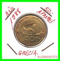 GRACIA  -  GREECE -  MONEDA DE  50  DRACHMES - AÑO 1988  -  Aluminum-Bronze, 27.5 Mm - Grecia