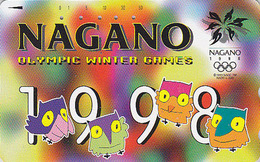 Télécarte Japon / 110-186810 - HIBOU Jeux Olympiques NAGANO - OWL Bird OLYMPIC GAMES Japan Phonecard - EULE  3922 - Jeux Olympiques