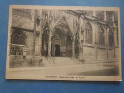52-CHAUMONT église St Jean Baptiste , Portail , écrite Au Verso En 1917 , Dos Vert - Châteaux D'eau & éoliennes