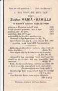 WETTEREN Zuster Maria Kamilla Alida DE PAUW 1892-1937 Doodsprentje DP Religieuse Soeur - Todesanzeige