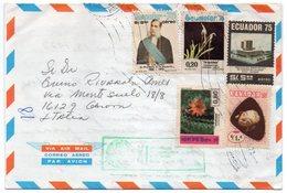 ECUADOR - SOUVENIR COVER TO ITALY 1977 / THEMATIC STAMPS-FLOWERS - Ecuador