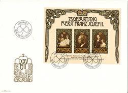 Liechtenstein FDC 9-6-1981 Minisheet 75th Birthday Fuerst Franz Josef II