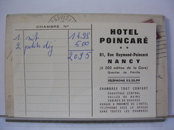 54 - NANCY - FACTURE DE L'HOTEL POINCARE - France