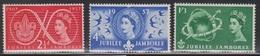 GREAT BRITAIN - Scott # 334-6 Mint Hinged  - QEII Jubilee Jamboree Issue - 1952-.... (Elizabeth II)