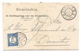 Nederland 1894 Port 5 Cent Op Dienstbrief V/h Stoomwezen Arnhem -Deventer - Period 1891-1948 (Wilhelmina)