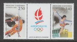 PAIRE NEUVE D´ANDORRE FR. - SLALOM ET PATINAGE ARTISTIQUE (J.O. D'ALBERTVILLE) N° Y&T 414A - Winter 1992: Albertville