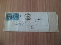 Pli  De Blidah (Algérie)  5013  Le 25 Février 1868 Pour Lyon Le 27 Février 1868 Avec Le  N° 22 X 2  B/TB - Postmark Collection (Covers)