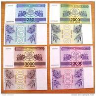 4 UNC Banknotes Set From Georgia 1993 Pick #43/46, 250/20 000 (laris) Coupons - Géorgie