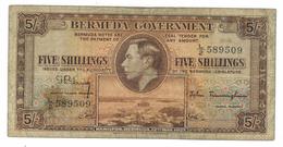 Bermuda ,  5 Shillings 1937, VG .  Free Ship. To USA. - Bermudas