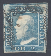 SICILIA 1859 2Gr AZZURRO II TAVOLA Nº 6g POSITION 55 - Sicile