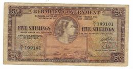 Bermuda ,  5 Shillings 1957, F .  Free Ship. To USA. - Bermudes