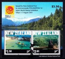 New Zealand 2001 PHILANIPPON '01 Tourism Minisheet Used - New Zealand