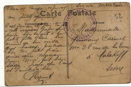 LANGRES CACHET FM AUXILLIAIRES DE PLACE FORTE LANGRES VIOLET SUR 2CPA - Marcophilie (Lettres)