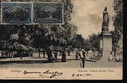 CPA Chili Santiago Alameda Estatua Buenos Aires Circulée 1911 YT 71 Et 74 - Chili