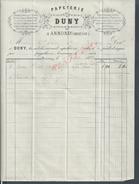 FACTURE DE 1873 DUNY PAPETERIE À ANNONAY POUR Md LEBRE À JOYEUSE : - 1800 – 1899