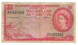 British Caribbean Territories, 1 Dollar 1964, USED, See Scan . Free Ship. To USA. - Billetes