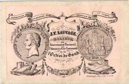 1 Carte De Visite Trade CARD  J.F.Sauvage RELIEUR  Boekbinder L'Octroi De  GAND   Litho Imp Vanderhaege-Maya GENTc1850 - Cartes De Visite