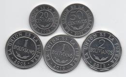 Bolivie : Lot De 3 Pièces 2001-2008 (Republica) Et De 2 Pièces 2010-2012 (Estado Plurinacional) - Bolivie