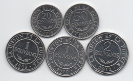 Bolivie : Lot De 3 Pièces 2001-2008 (Republica) Et De 2 Pièces 2010-2012 (Estado Plurinacional) - Bolivia