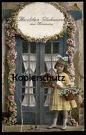 ALTE POSTKARTE HERZLICHEN GLÜCKWUNSCH ZUM NAMENSTAG Girl Kind Child Enfant Kinder Enfants Children Cpa AK Postcard - Portraits